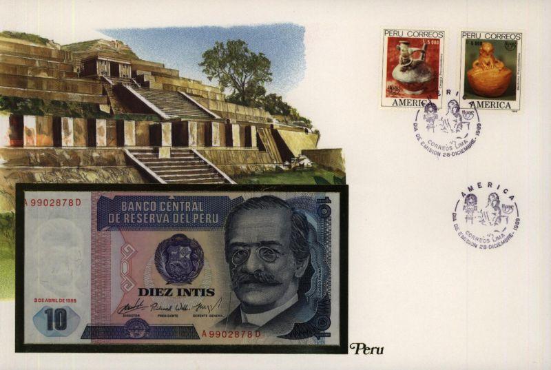 Geldschein Banknote Banknotenbrief Peru Schein + Briefmarkenausgabe sehr schön