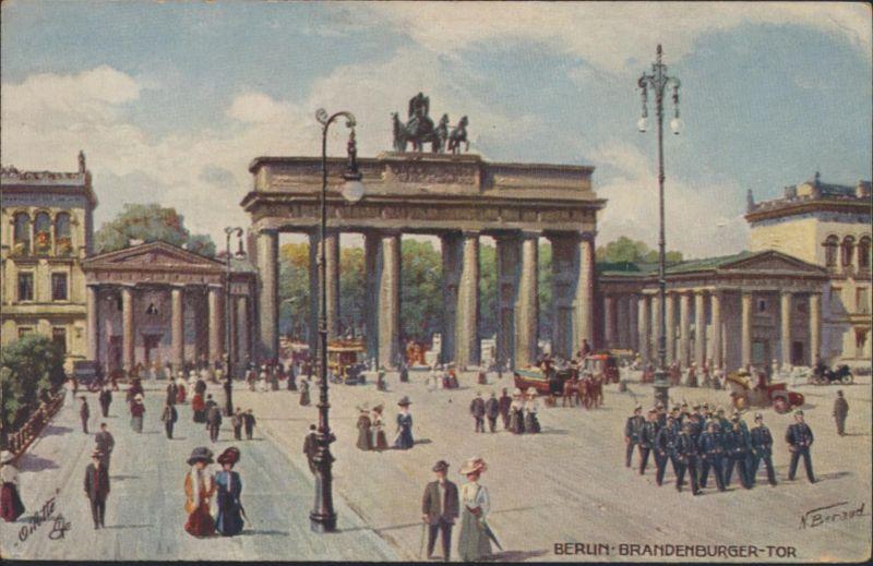 Militaria Ansichtskarte Künstler Berlin Brandenburger Tor Oilette Serie R. Tuck