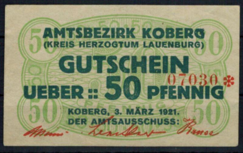 Notgeldschein Koberg Herzogtum Lauenburg Schleswig-Holstein 50 Pfg.