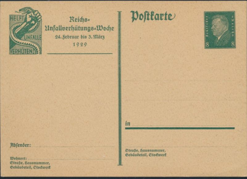 Deutsches Reich Ganzsache P 187 Unfallverhütungs Woche WST Ebert Reichspräsident