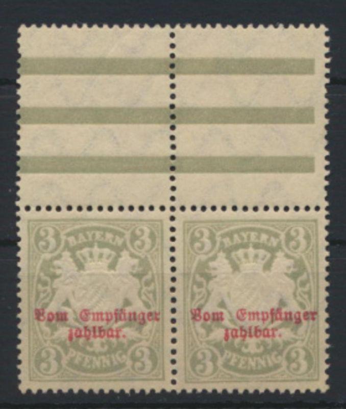 Bayern Dienstmarke 10x Paar Luxus postfrisch Oberrand hier Falzspur
