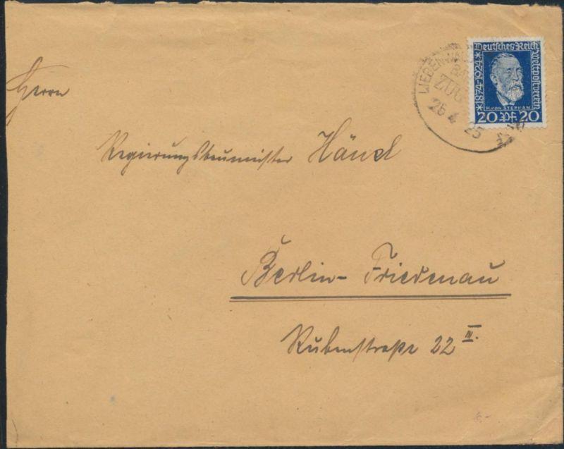 Deutsches Reich Brief Bahnpost 369 Liebenwalde nach Berlin 25.4.1925