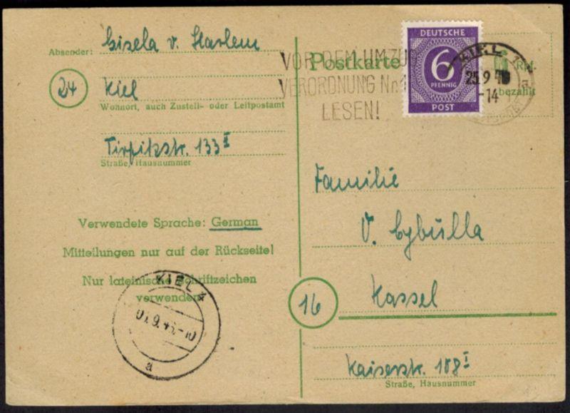 All. Besetzung Ganzsache P 783 ZUF 6 Pfg. Kontroll Werbe-St. Kiel Reichspost