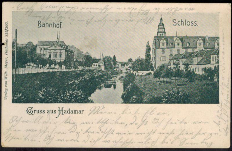 Ansichtskarte Hadamar Hessen Bahnhof Schloss gelaufen 1908