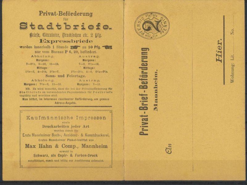 Stadtpost Privatpost Ganzsache Klappkarte P 1 Mannheim Reklame Max Hahn & Comp.
