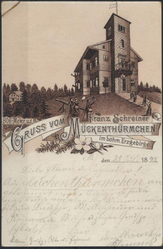 Ansichtskart Vorläufer Mückenthürmchen Schreiner Komáří hůrka Graupen Tschechien