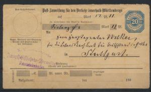 Württemberg Ganzsache Postanweisung Dampfschifffahrts Verwaltung Fridrichshafen