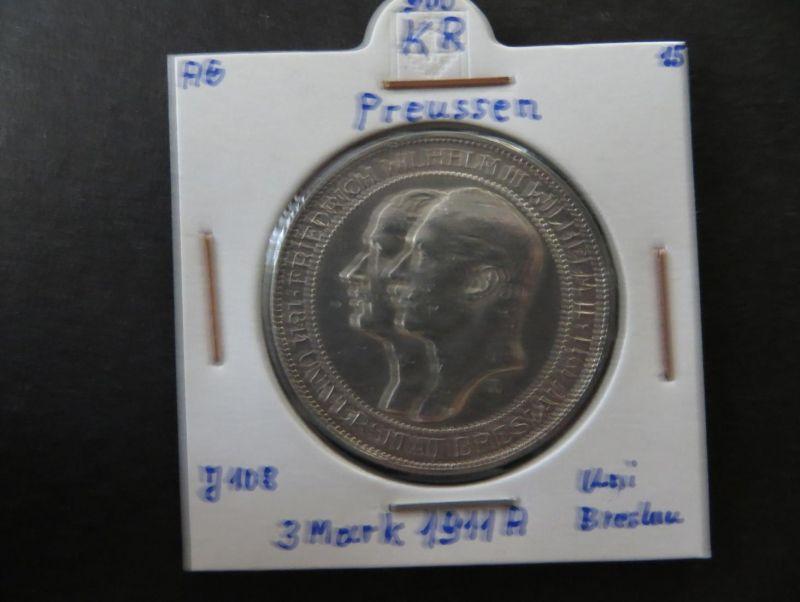 Münze Deutsches Reich Silber Preussen 1911 3 Mark Universität Breslau vz J 108