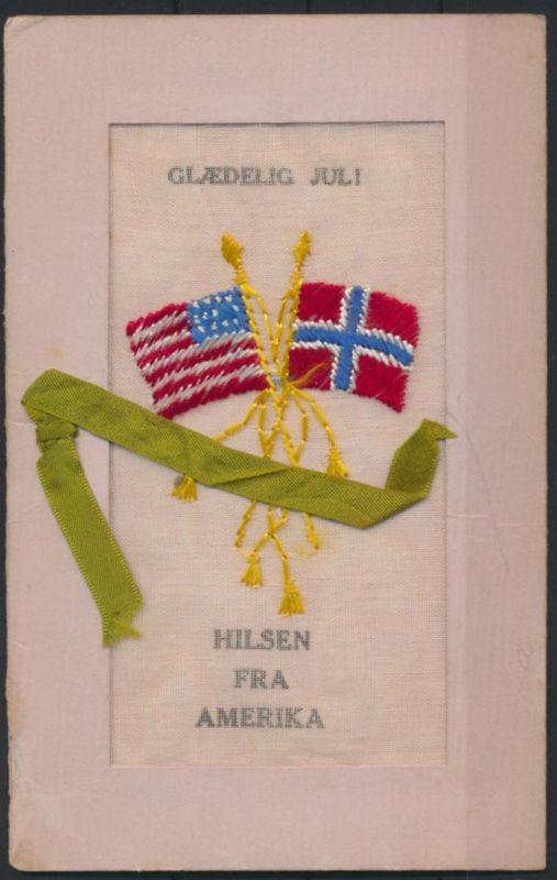 Ansichtskarte Dänemark USA Glaedelig Juli Hilsen tolle Karte mit Stoff Textil