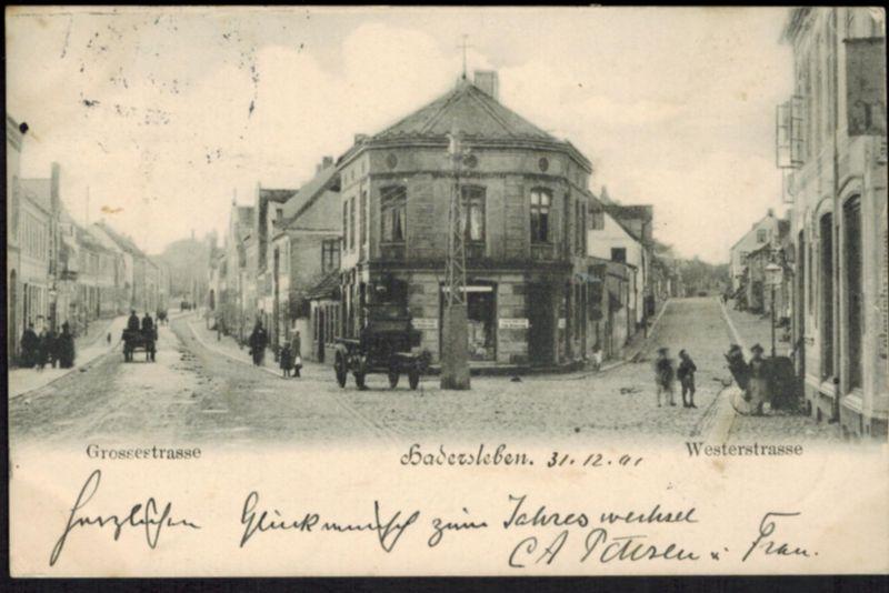 Ansichtskarte Hadersleben Haderslev Dänemark Schleswig 1901 nach Norburg