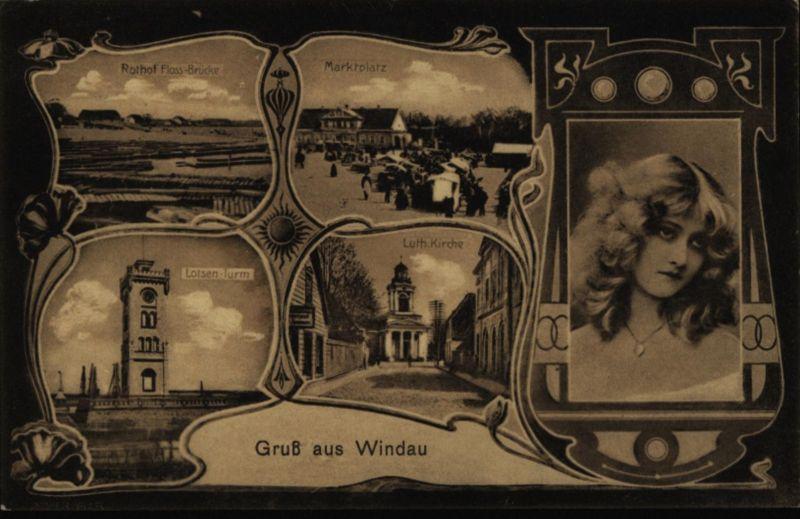 Ansichtskarte Windau Ventspils Kurland Lettland Jugendstil Feldpost Marine Brief