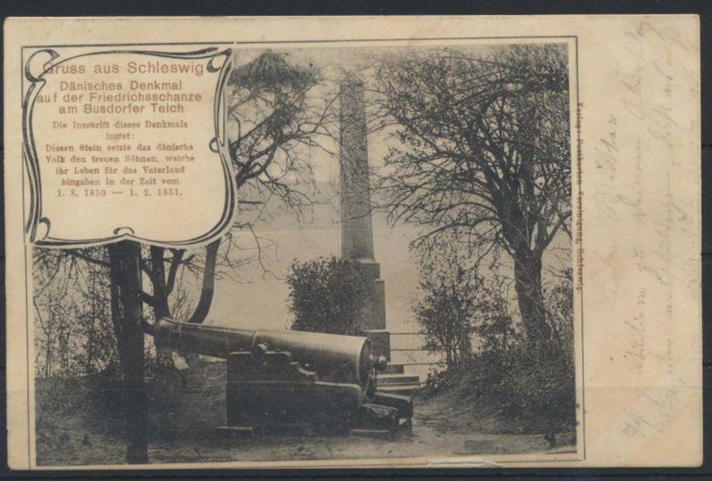 Ansichtskarte Schleswig Denkmal Dänemark Friedensschanze Busdorfer Teich 1907