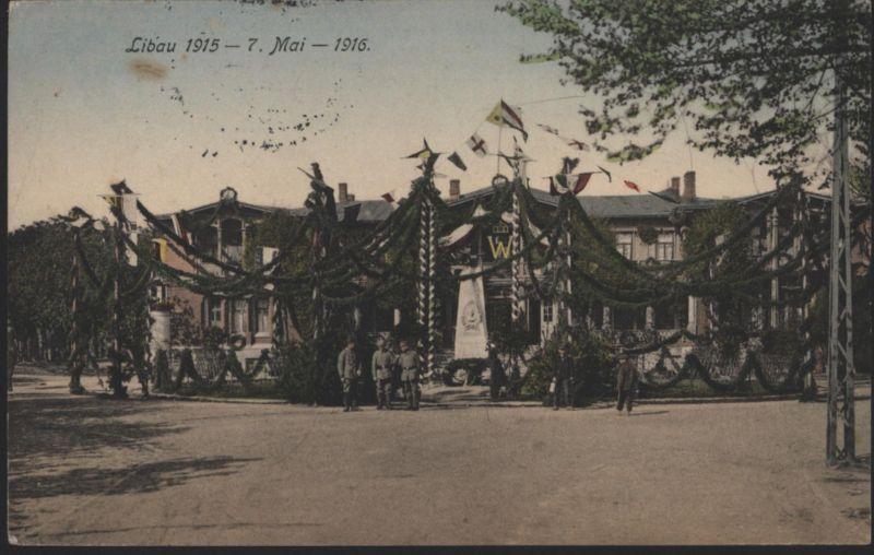 Ansichtskarte Libau 1915 Festschmuck Lettland Liepāja Kurland Feldpost I. WK