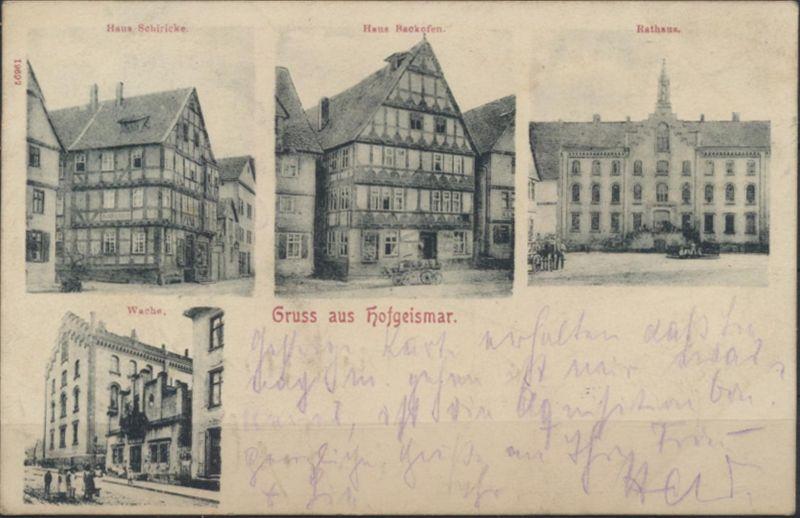 Ansichtskarte Hofgeismar Rathaus Wache 1903 nach Hamburg