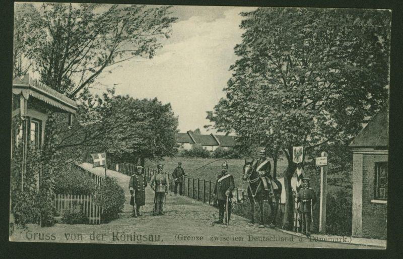 Ansichtskarte Königsau Landesgrenze Deutschland - Dänemark 1916