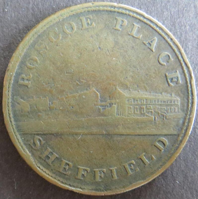 Münze Großbritannien 1812 - Token One Penny Sheffield Roscoe Place Kupfer ss