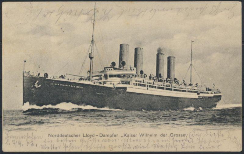 Ansichtskarte Seefahrt Schiffe Norddeutscher Lloyd Dampfer Kaiser Wilhelm der