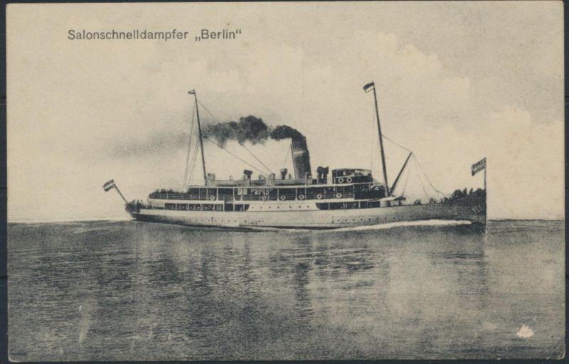Ansichtskarte Seefahrt Schiffe Salonschnelldampfer Berlin  mit Bordstempel