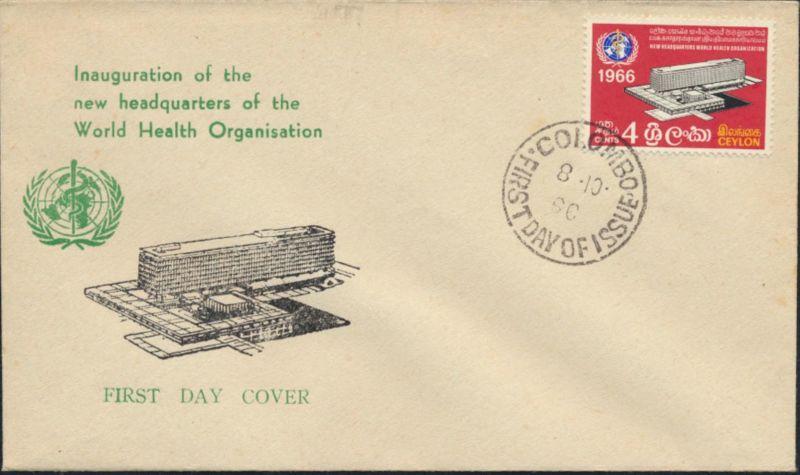 Sri Lanka Ceylon Brief 346 Weltgesundheitsorganisation WHO als FDC 1966