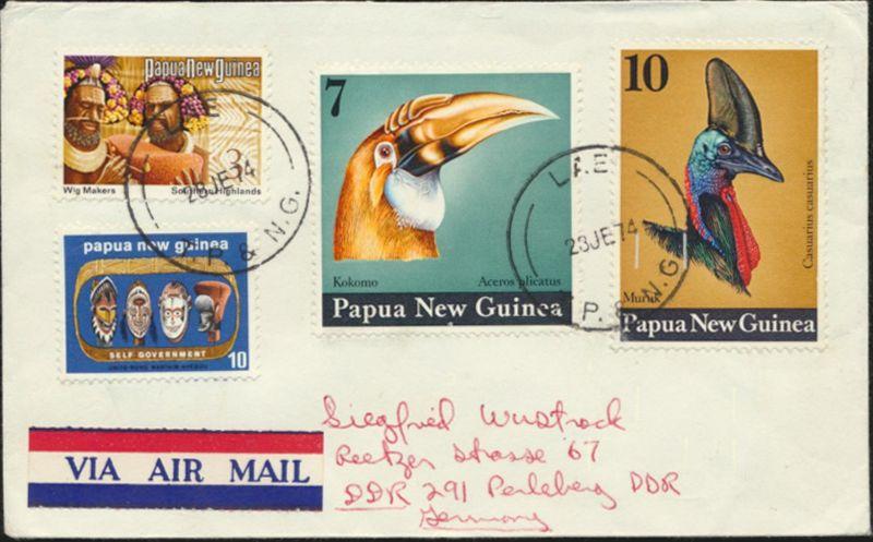 Papua Neuguinea Brief Luftpost MIF 245+269+272-273 Lae n. Perleberg Tiere Vögel