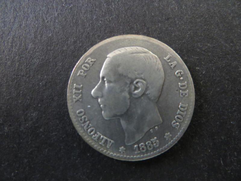 Münze Spanien Alfonso XII 1 Peseta 1885 Silber ss Schön: 164