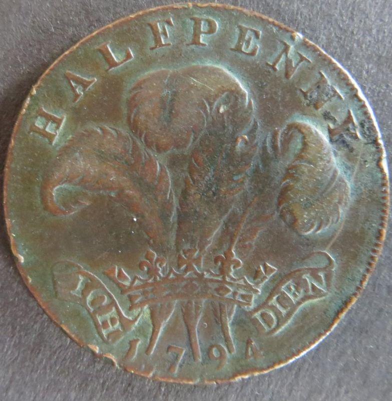 Großbritannien 1794 - Half Penny Token George Prince of Wales Essex Warley  ss
