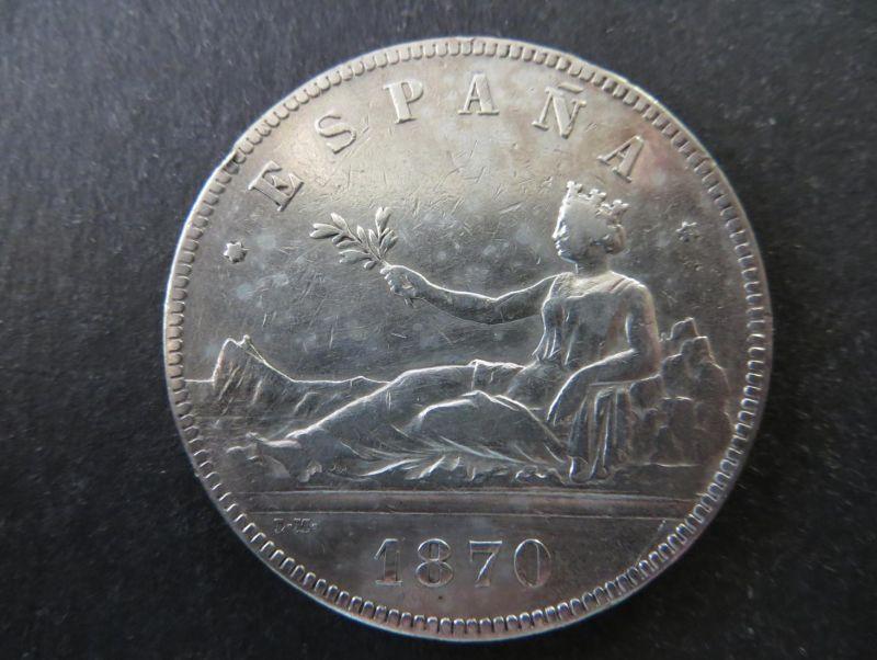 Münze Spanien 5 Pesetas 1870 Silber ss Schön: 149