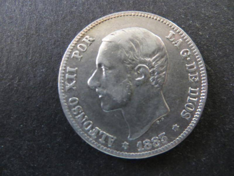 Münze Spanien Alfonso XII 2 Pesetas 1883 Silber ss Schön: 165