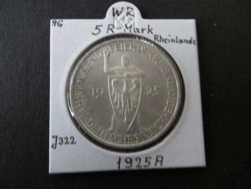 Münze Deutsches Reich Weimar 1925 5 RM Rheinlande Buchstabe A vz+ J 322