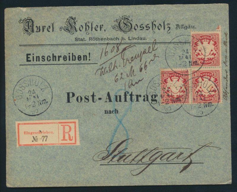 Bayern Postsache R Brief nachtaxiert MEF Gossholz Ankunft Stuttgart P.A.1