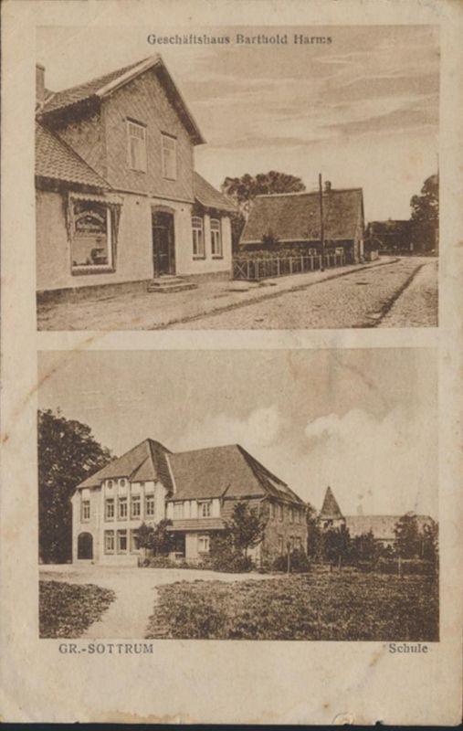 Ansichtskarte Foto Groß Sottrum Geschäftshaus Barthold Harms und Schule