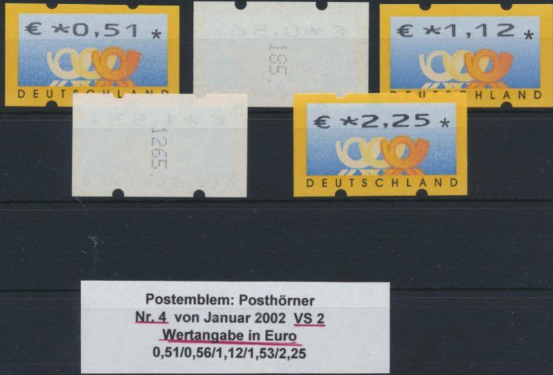 Bund Automatenmarke ATM Nr. 4 VS 2 mit Zählnummer postfrisch  Postemblem