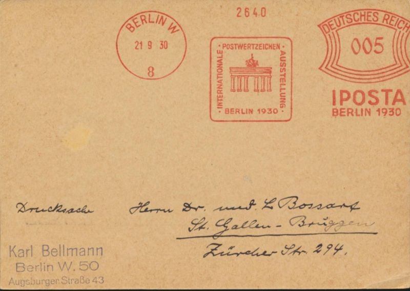 Deutsches Reich Karte Absenderfreistempel 005 IPOSTA Brandenburger Tor Berlin