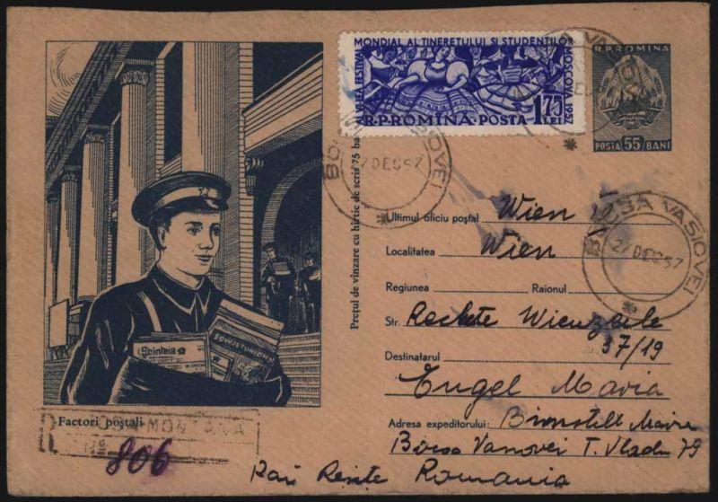 Rumänien R-Bild - Ganzsache 55 B. + ZUF Motiv Post Postgeschichte Postautomation