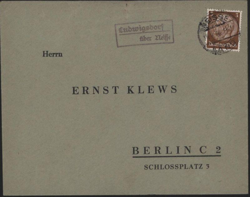 Deutsches Reich Brief Landpoststempel Ludwigsdorf ü. Neisse Nysa Schlesien Polen