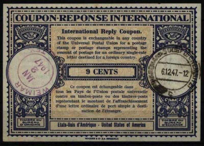 USA Intern. Antwortschein 9 cent 1947 Weimar Texas n. Chemnitz