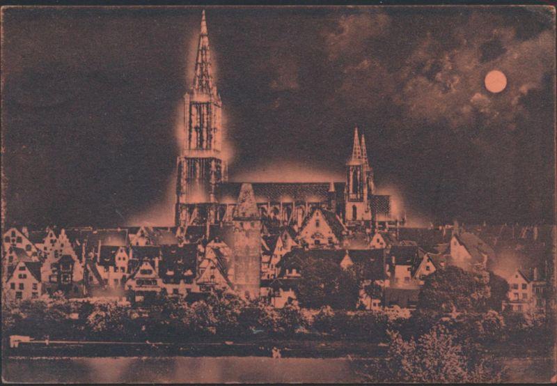 Ansichtskarte Ulm Donau Mondscheinkate Münster +Stadt Beleuchtung Donaueschingen