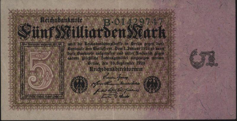 Deutsches Reich Geldschein Reichsbanknote Infla 112 a. 5 Milliarden I