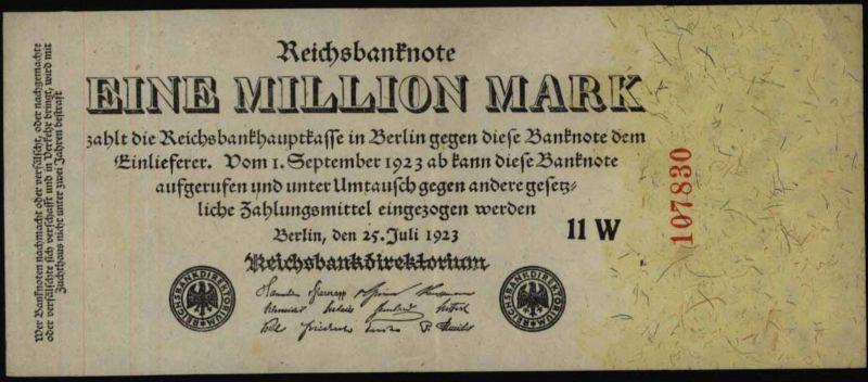 Geldschein Banknote Rechsbanknote Infla 1 Millionen Mark 92 c 25.7 1923 I-II