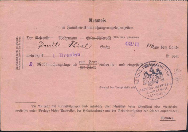 Militaria Zeitdokument Ausweis Familien Unterstützung Preuß. Landwehramt Breslau
