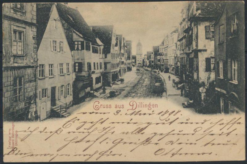 Ansichtskarte Dillingen Verlag Gotthard Behringer 1898 nach Ulm