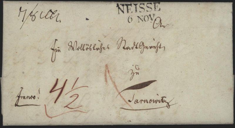Preussen Vorphila Brief L2 Neisse Nysa Schlesien n. Tarnowskie Góry 1835 kompl.