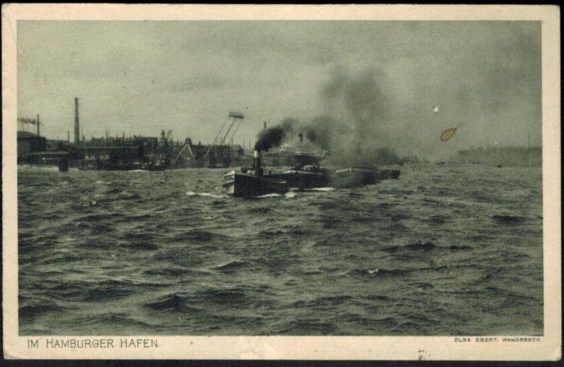 Ansichtskarte Schiff Im Hamburger Hafen gelaufen 1921 nach Rom Italien