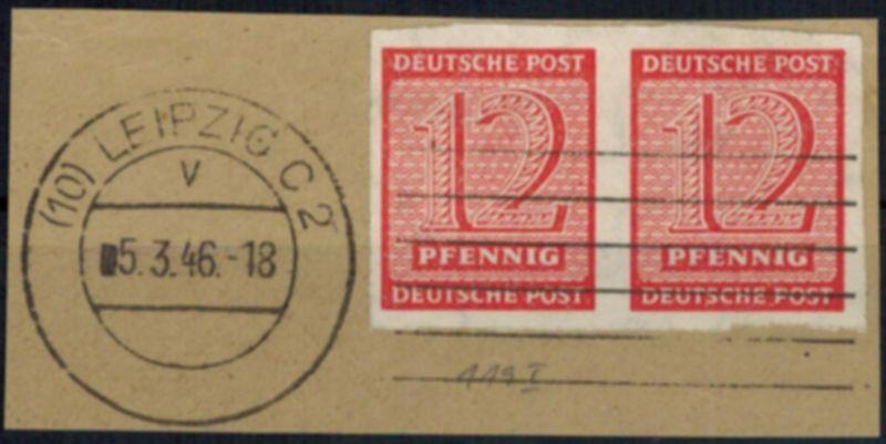SBZ 119 West-Sachsen waagerechtes Paar auf Briefstück mit Plattenfehler I
