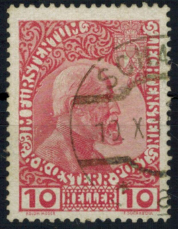 Liechtenstein 2 Fürst Johann II. 10 Heller 1912 sauber gestempelt