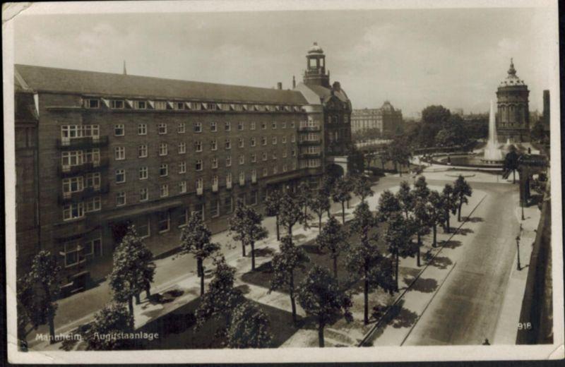 Ansichtskarte Mannheim Augustaanlage 1934 Baden-Württemberg