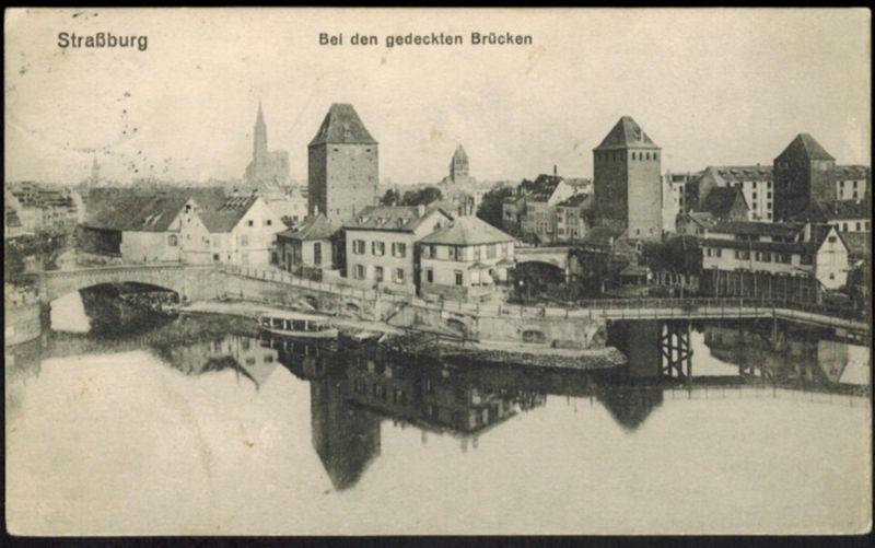 Ansichtskarte Straßburg Brücken Elsass Frankreich 1911