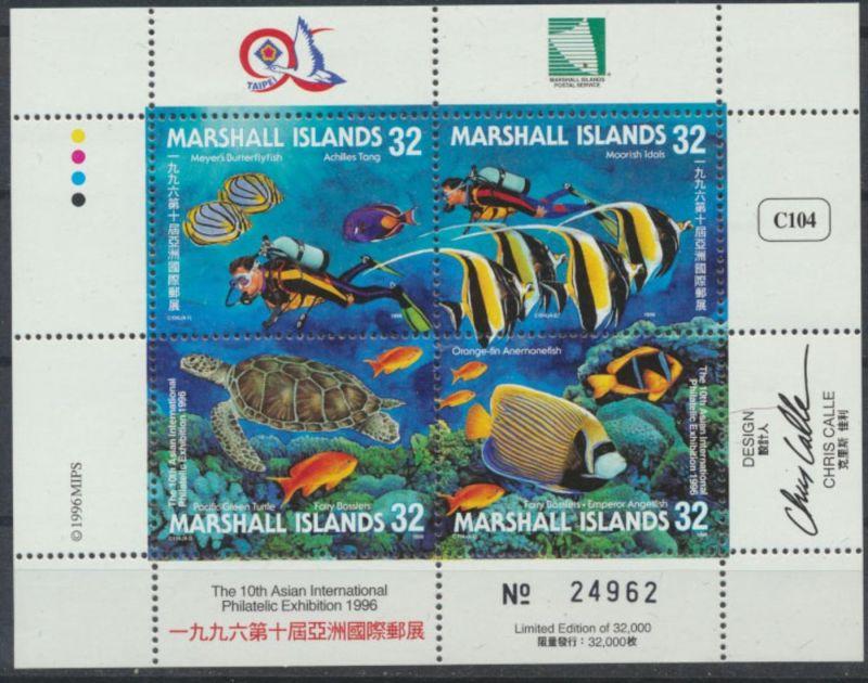 Marshall Inseln Kleinbogen 746-749 postfrisch Briefmarkenausstellung TAIPEI 96