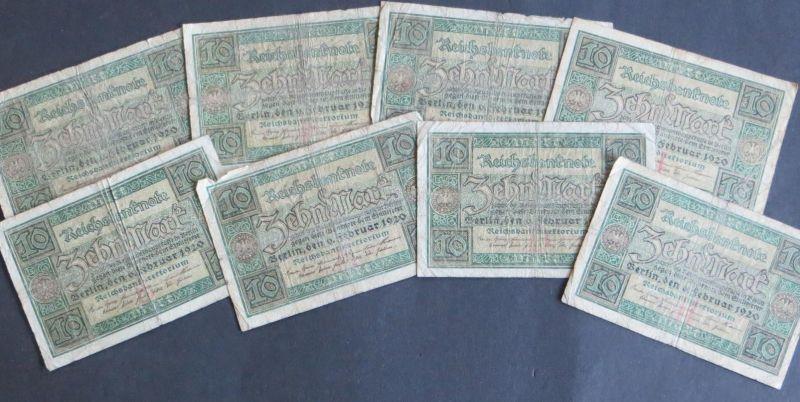 8x Geldscheine Banknoten 10 Mark Ro: 63 1920 V.