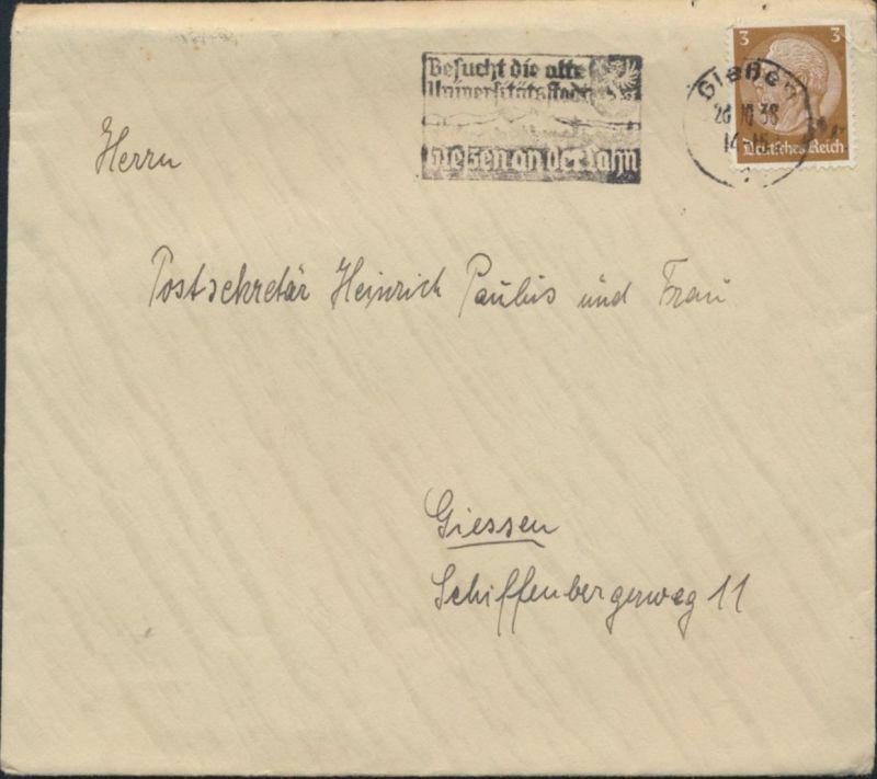 Deutsches Reich Brief 513 X Fahnenstempel Besucht die Universitätsstadt Gießen